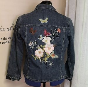 Cabi Butterfly Embroidered jean Jacket medium